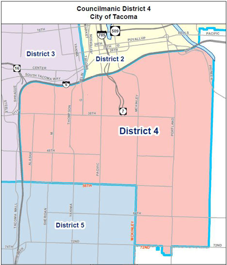 Tacoma City Council District 4 map
